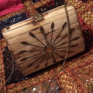 Handbags - Vintage Bone and Brass Decorative Bag